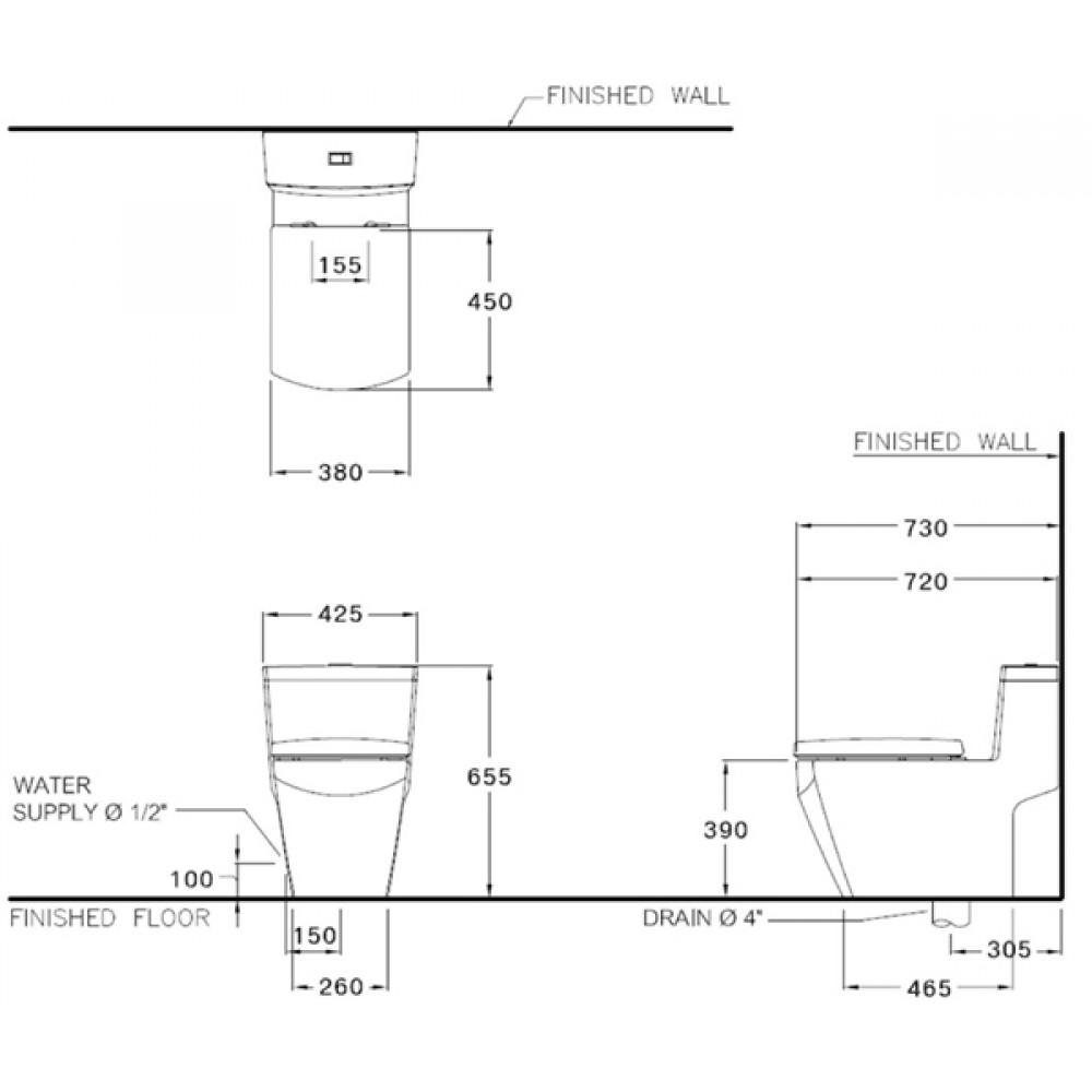 Bản vẽ kỹ thuật bồn cầu Cotto C10717