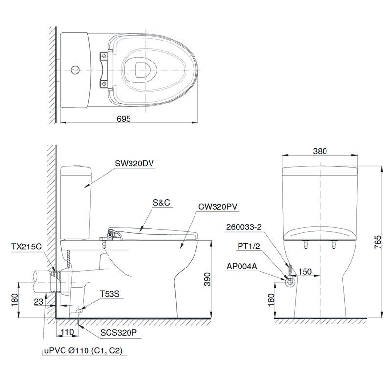Bản vẽ ký thuật bồn cầu thoát CS320DRT3