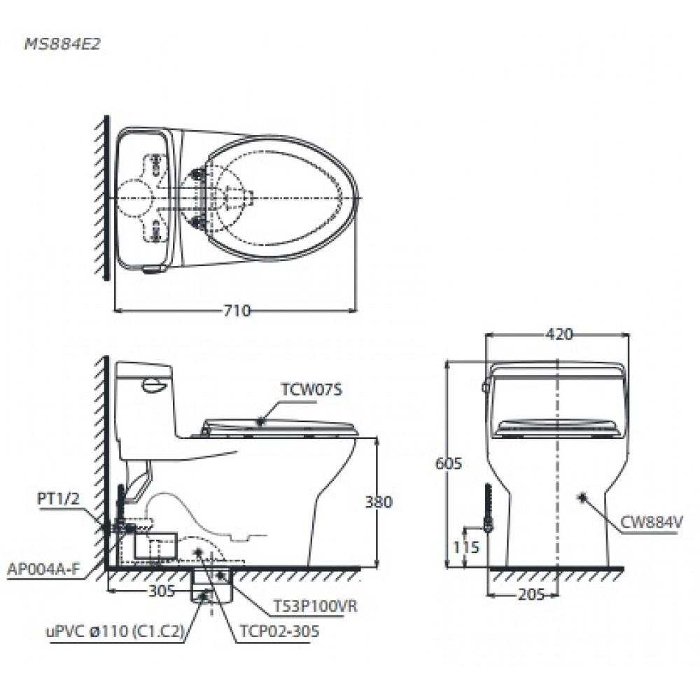 bản vẽ bồn cầu TOTO MS884E2 nắp rửa cơ