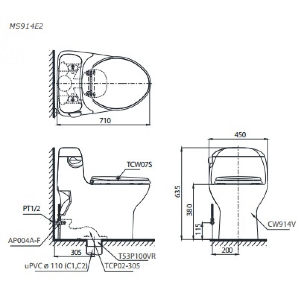 bản vẽ bồn cầu TOTO MS914E2 nắp rửa cơ