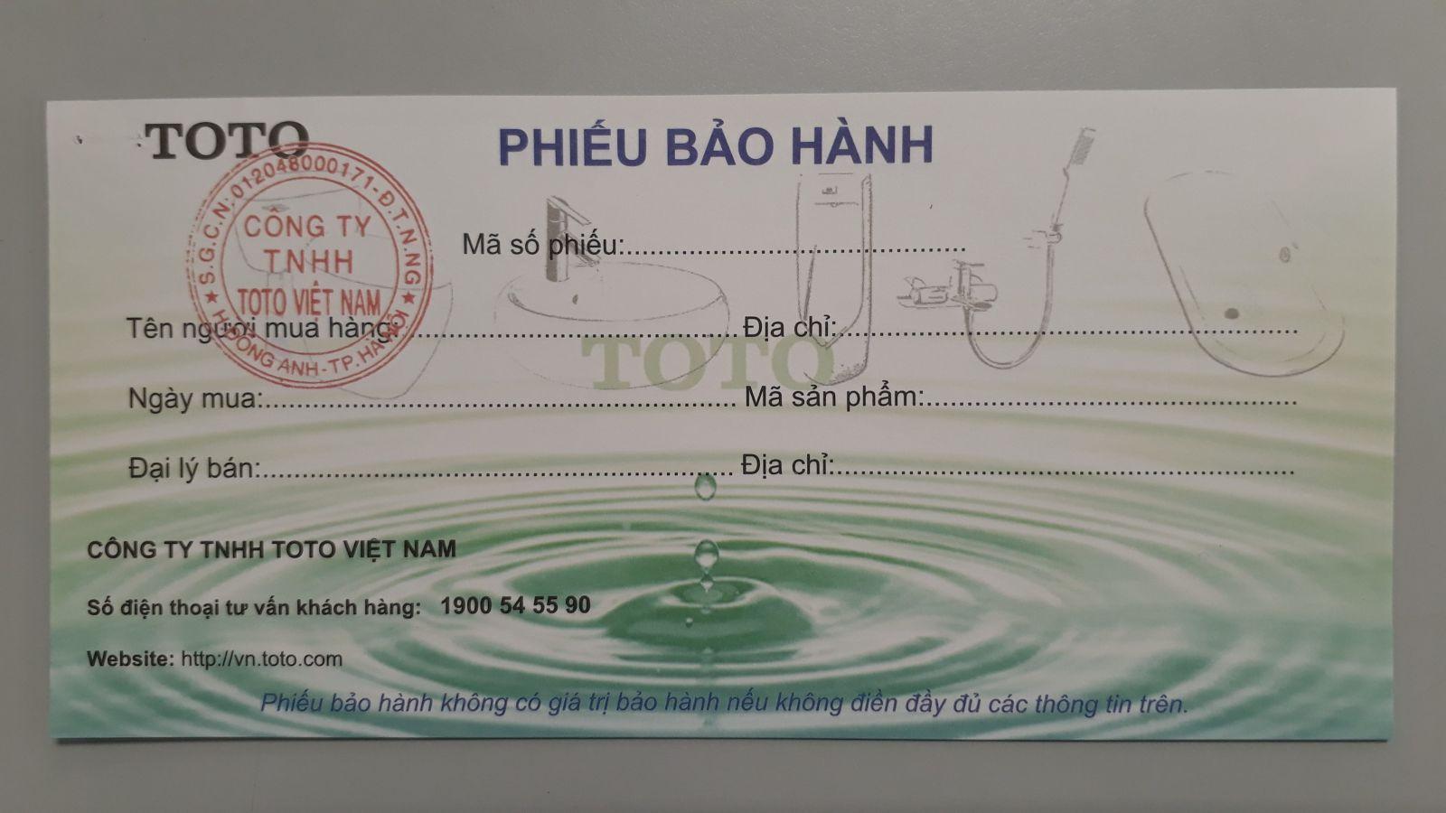 phieu bao hanh toto