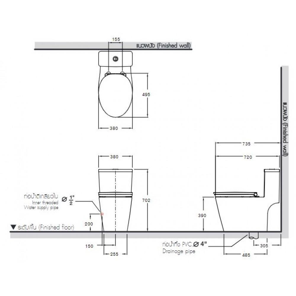 Bản vẽ bồn cầu C110507 COTTO 1 khối