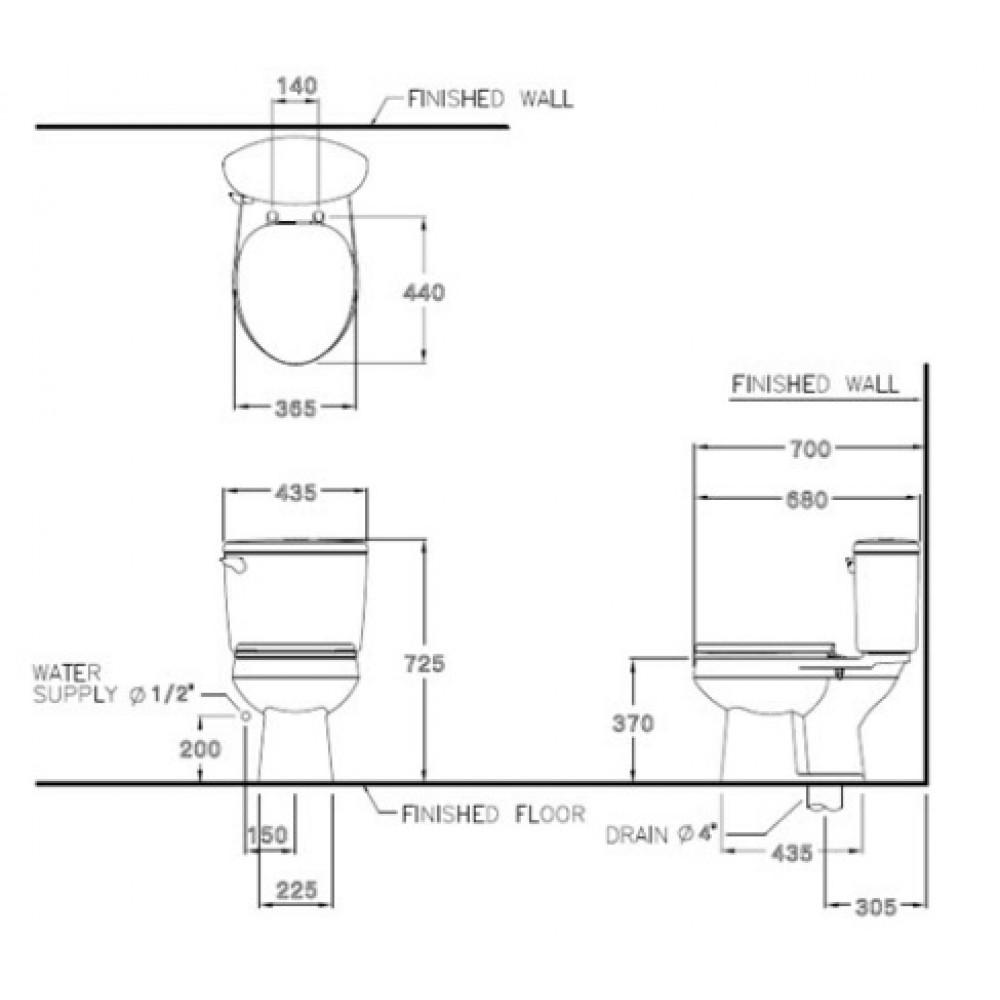 Bản vẽ bồn cầu C1444 COTTO dòng SHARON 2 khối