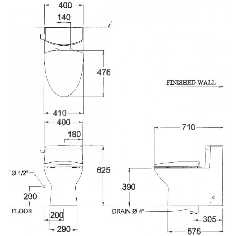 Bản vẽ bồn cầu C10127 COTTO 1 khối