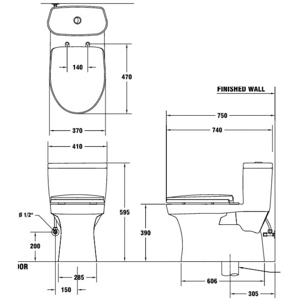 Bản vẽ bồn cầu C1015 COTTO 1 khối
