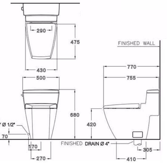 Bản vẽ kỹ thuật bồn cầu Cotto C10187
