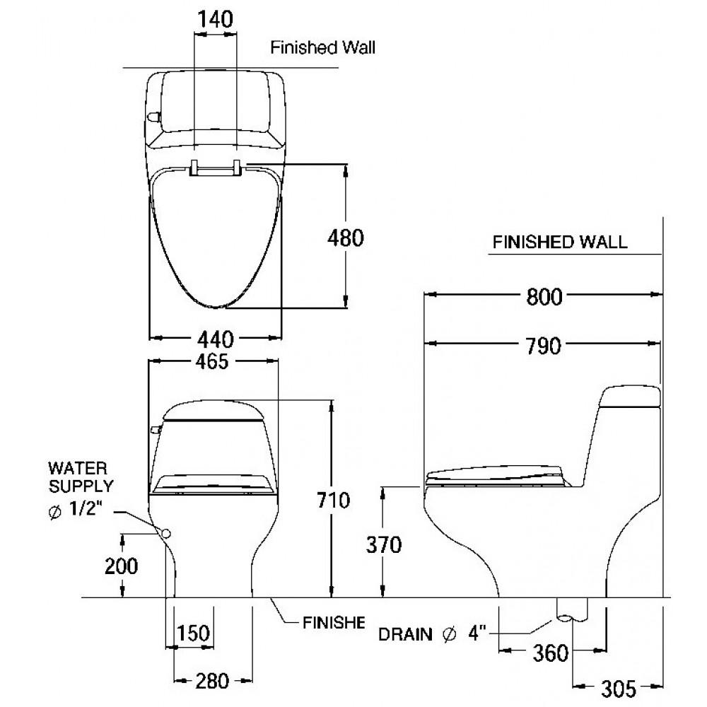 Bản vẽ kỹ thuật bồn cầu Cotto C1046