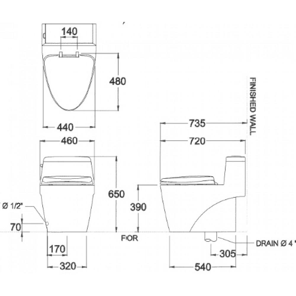Bản vẽ kỹ thuật bồn cầu Cotto C10527