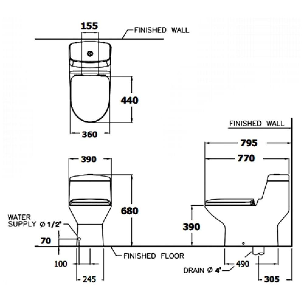 Bản vẽ kỹ thuật bồn cầu Cotto C1111