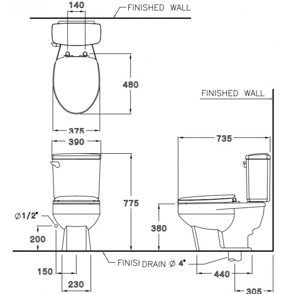 Bản vẽ bồn cầu C1163 COTTO dòng Vadoria 2 khối
