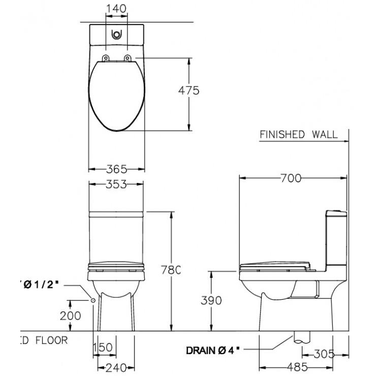 Bản vẽ bồn cầu C1182 COTTO dòng Viva E