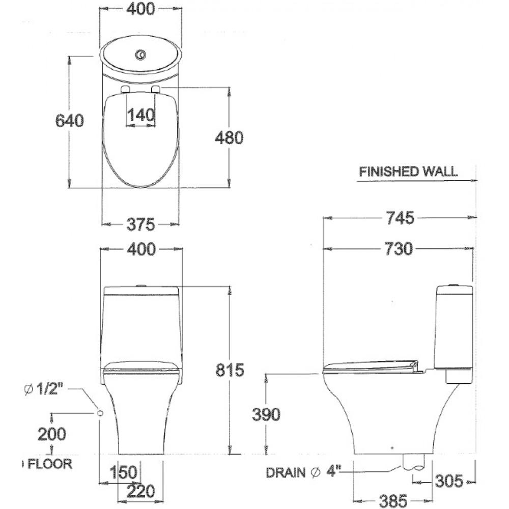 Bản vẽ kỹ thuật bồn cầu Cotto C12027