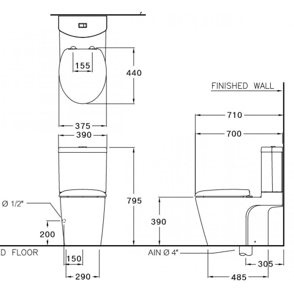Bản vẽ bồn cầu C12247 COTTO dòng Unique II