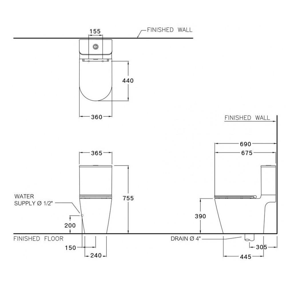 Bản vẽ kỹ thuật bồn cầu Cotto C125117