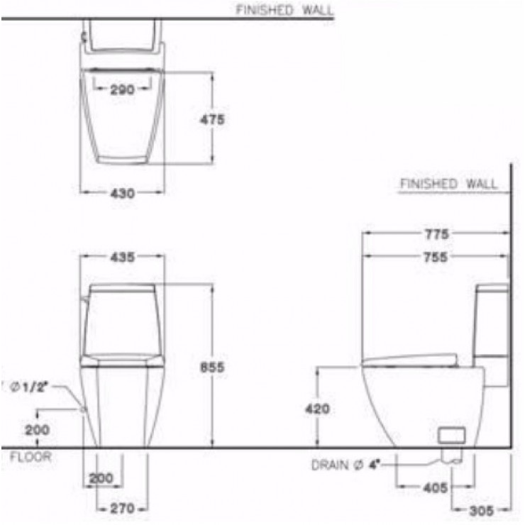Bản vẽ kỹ thuật bồn cầu Cotto C13507