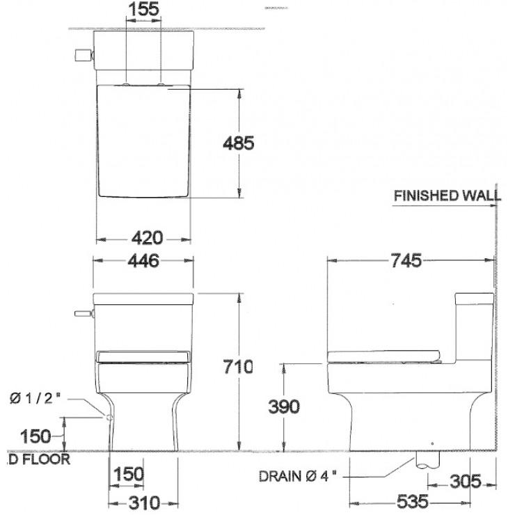 Bản vẽ kỹ thuật bồn cầu Cotto C13607