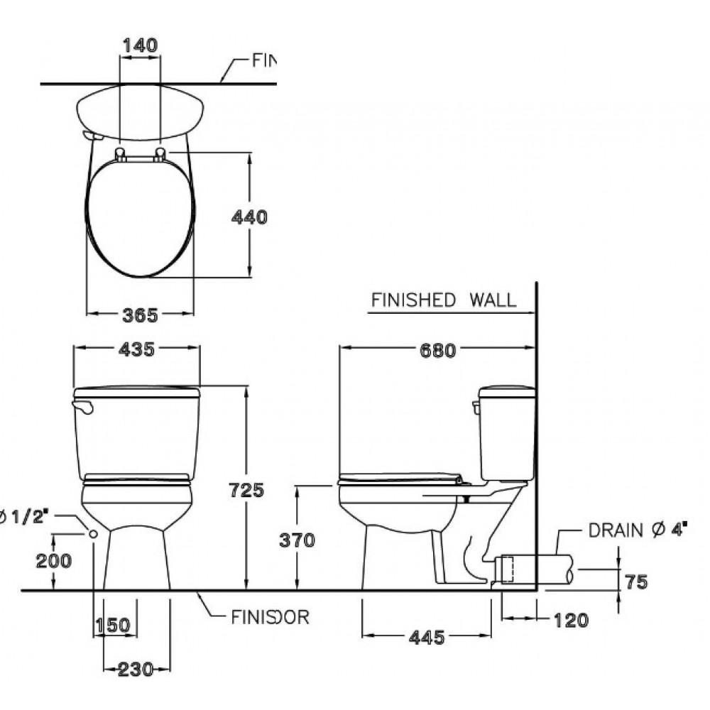 Bản vẽ kỹ thuật bồ cầu Cotto C1320