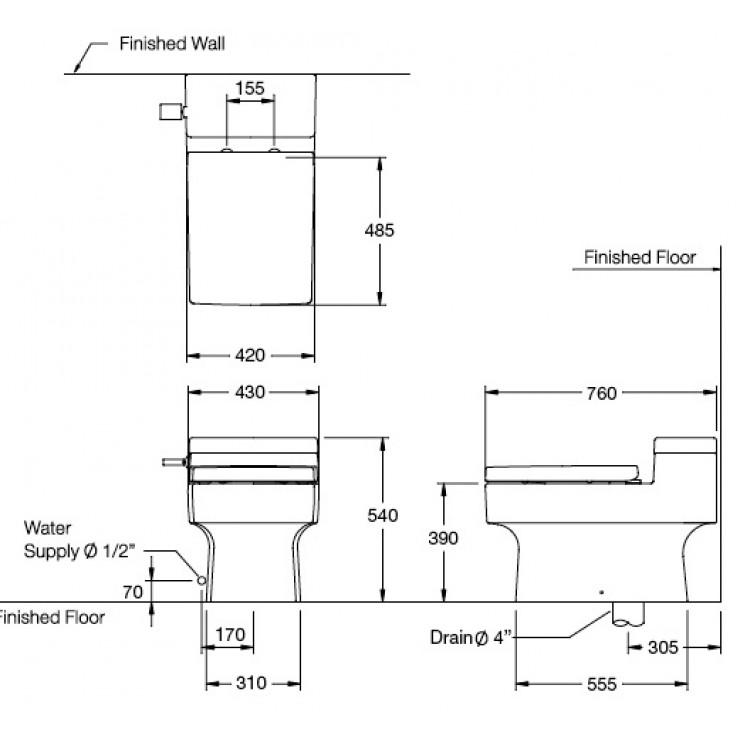 Bản vẽ kỹ thuật bồn cầu Cotto C107127(CN)