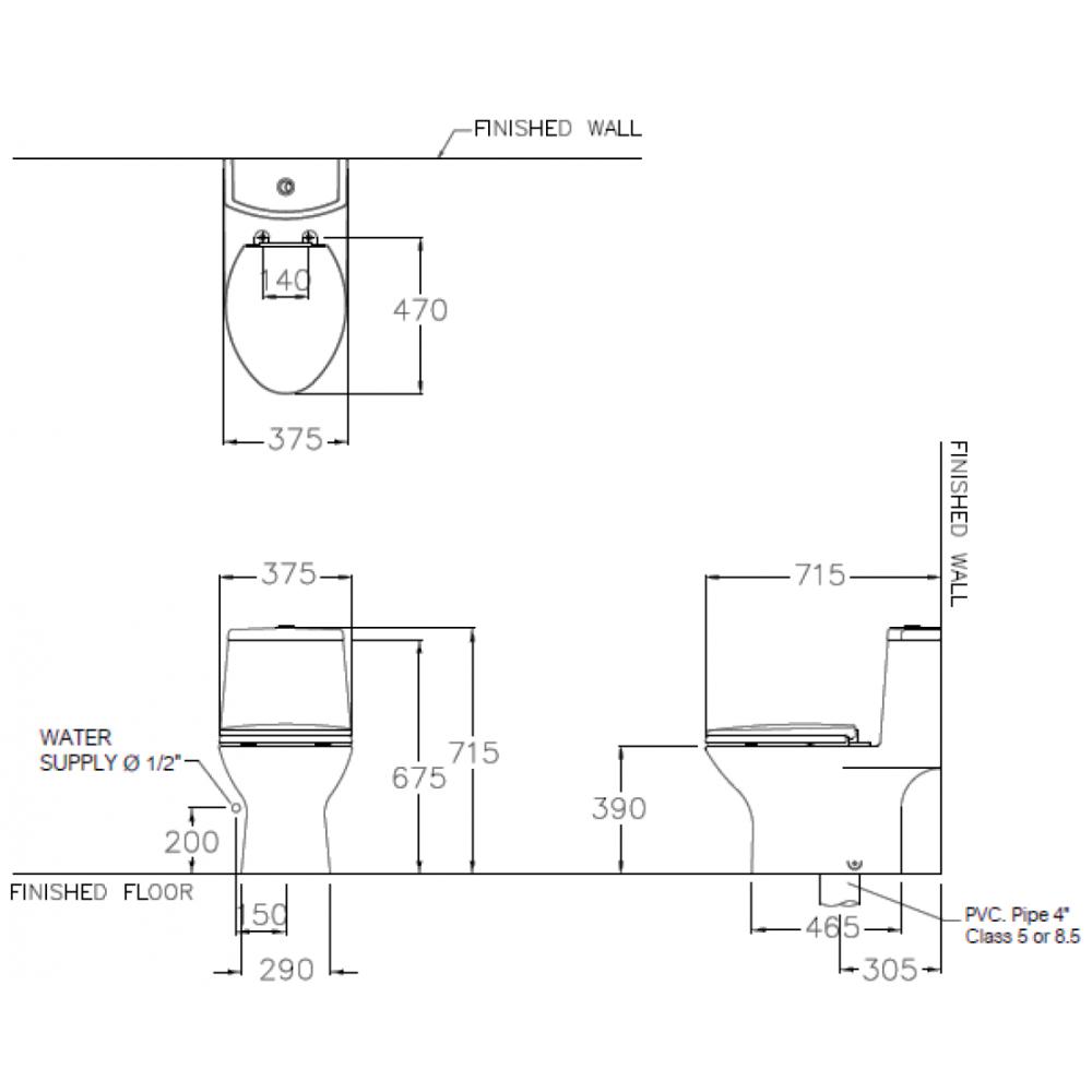 Bản vẽ bồn cầu C1053 COTTO 1 khối