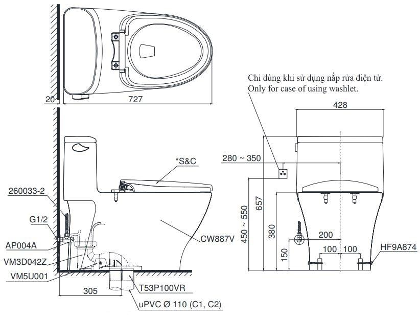 Bản vẽ bồn cầu TOTO MS887W6 1 khối