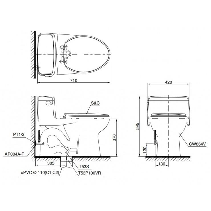 bản vẽ bồn cầu nắp rửa điện tử TOTO MS864W6