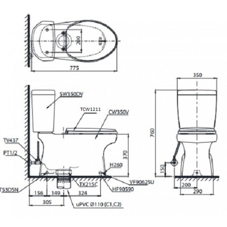 Bản vẽ kỹ thuật bôn cầu TOTO CS350DE4