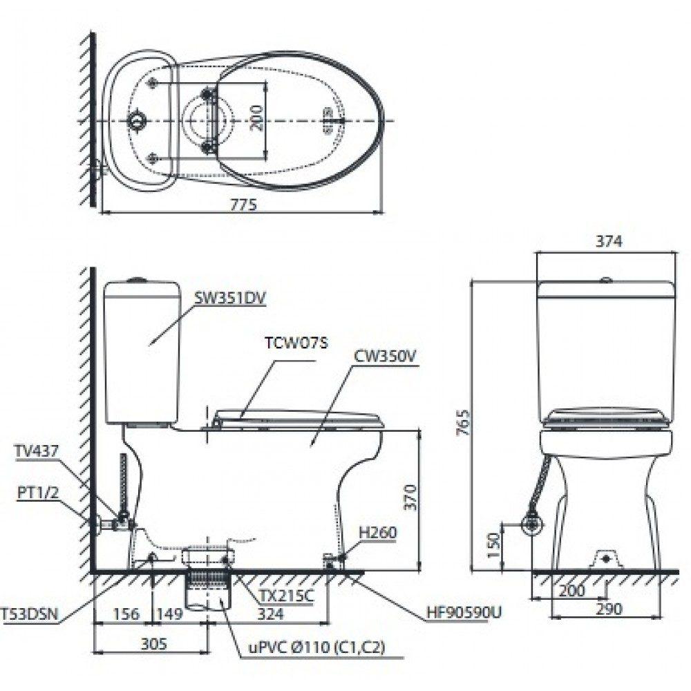 bản vẽ bồn cầu TOTO CS351DE2 nắp rửa cơ