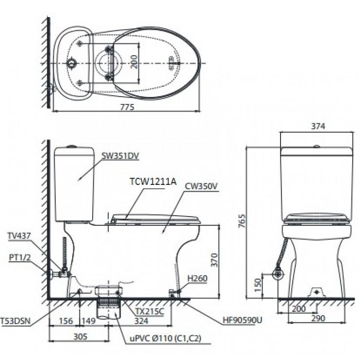 bản vẽ bồn cầu TOTO CS351DE4 nắp rửa cơ