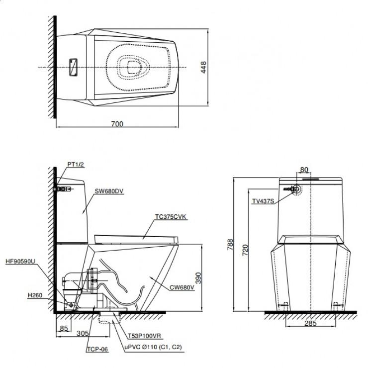 Bản vẽ kỹ thuật xí bệt TOTO CS680DT4