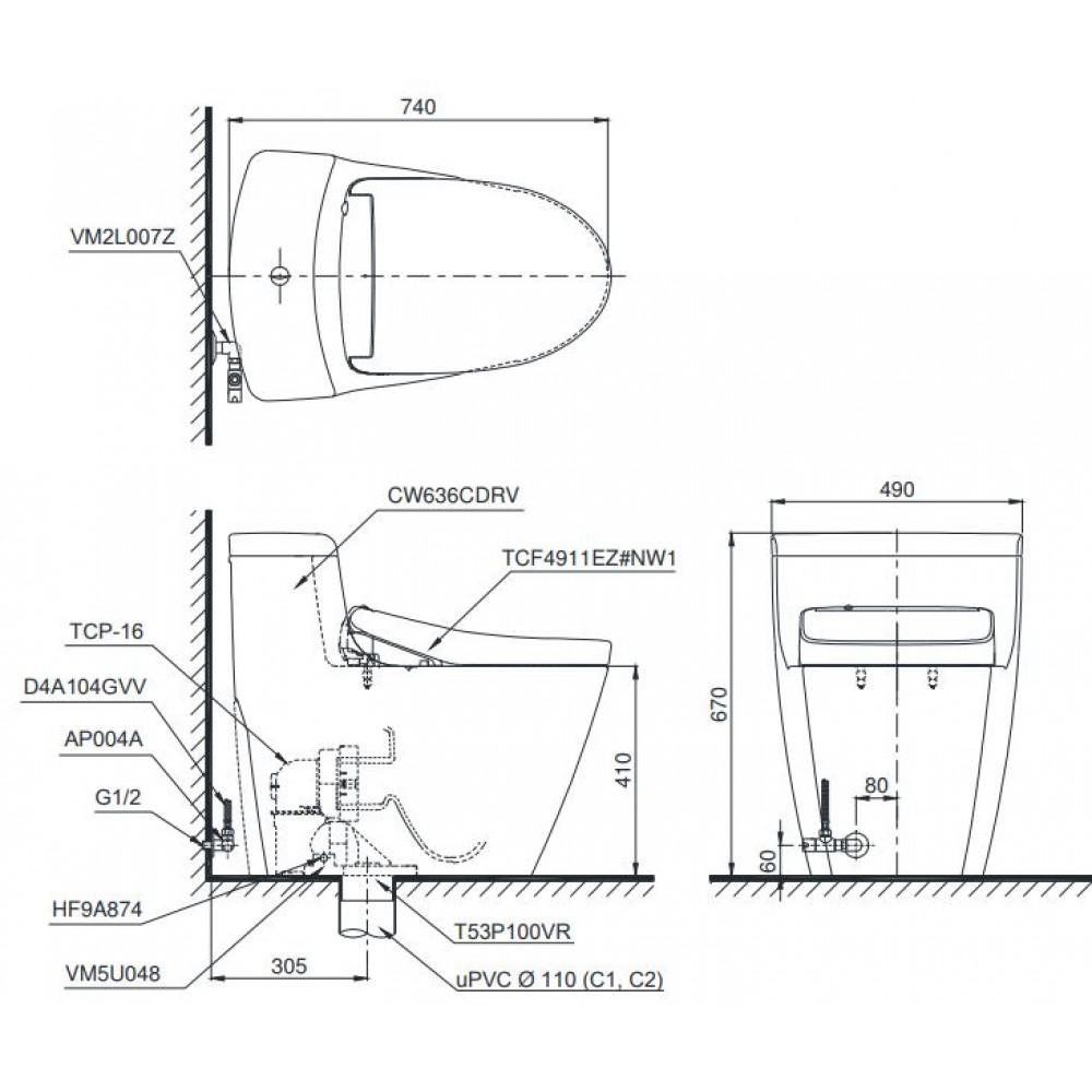 Bản vẽ bồn cầu 1 khối TOTO MS636CDRW12