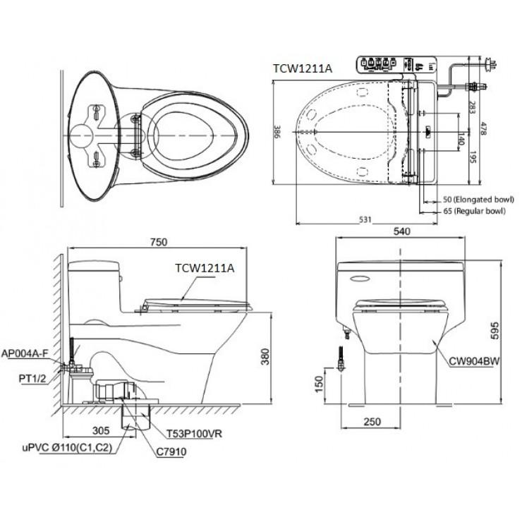bản vẽ bồn cầu TOTO MS904E4 nắp rửa cơ