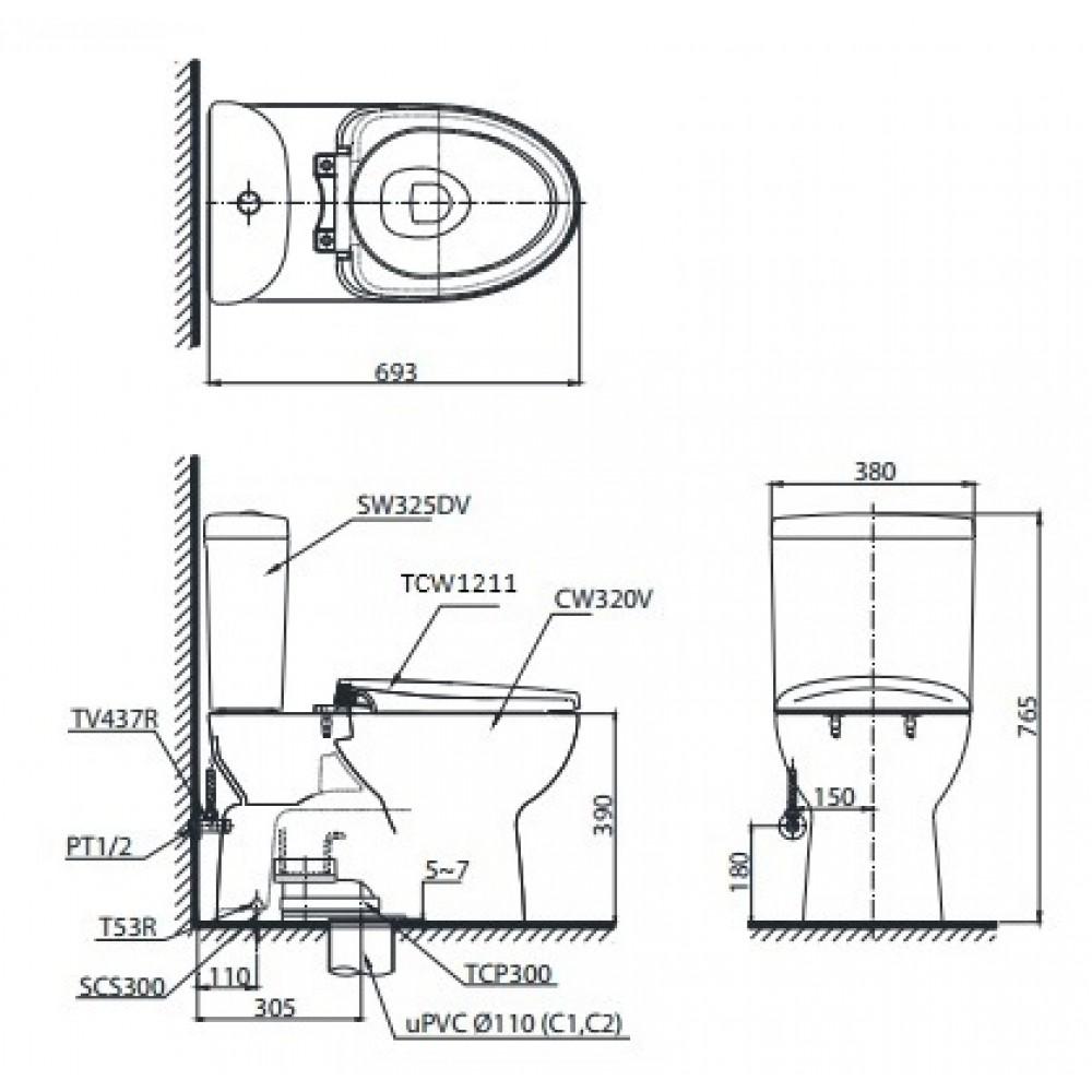 bản vẽ bồn cầu TOTO CS325DRE4 nắp rửa cơ