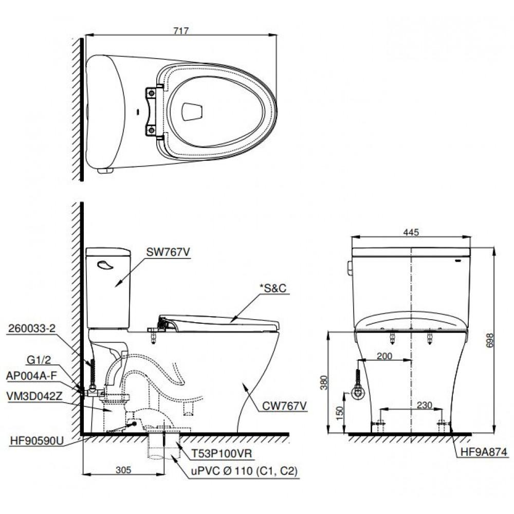 Bản vẽ bồn cầu 2 khối TOTO CS767CW12