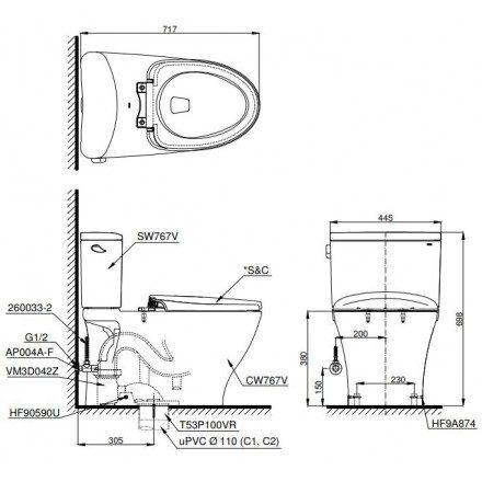 Bản vẽ bồn cầu 2 khối TOTO CS767E4