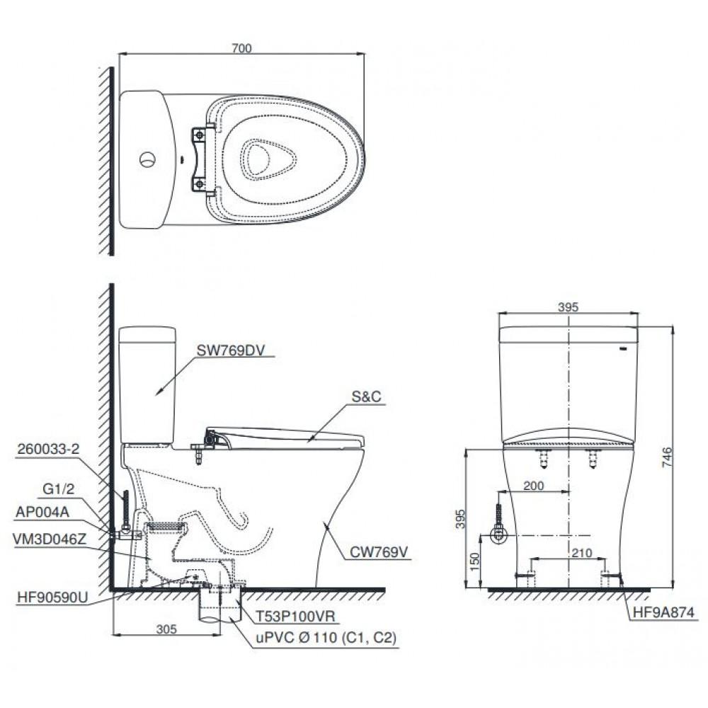 Bản vẽ bồn cầu CS769 nắp rửa cơ TCW07S TOTO