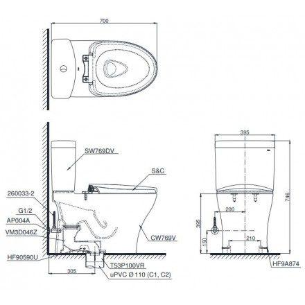Bản vẽ bồn cầu CS769 nắp rửa cơ TCW1211S TOTO