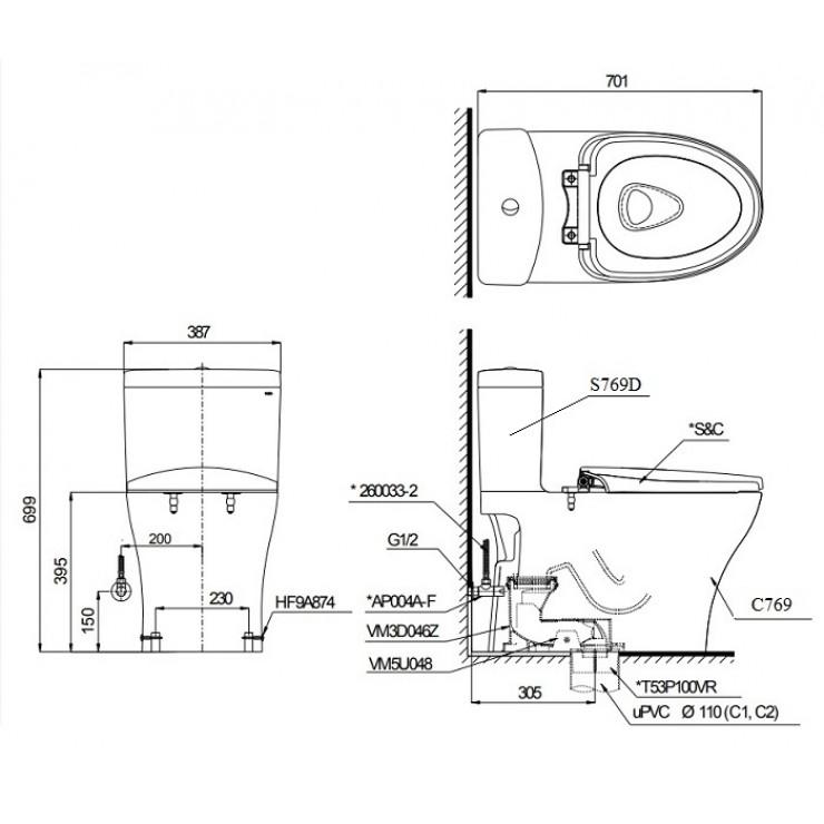 Bản vẽ kỹ thuật xí bệt TOTO CS769DT3