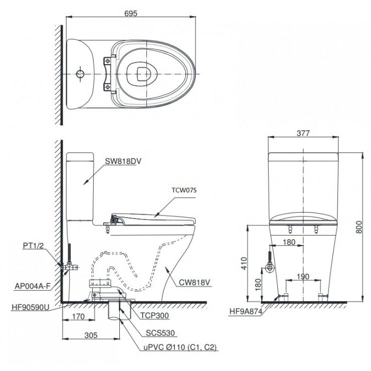 bản vẽ bồn cầu TOTO CS818DE2 nắp rửa cơ