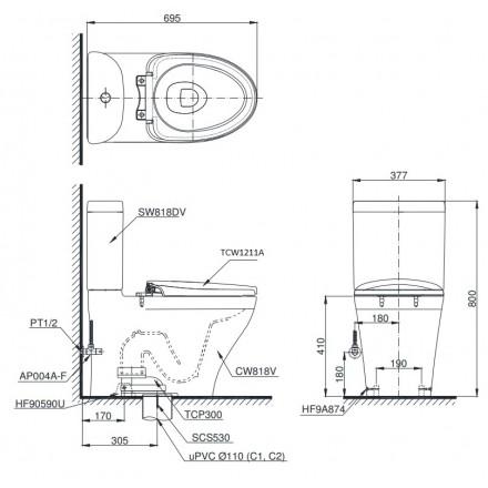 Bản vẽ kỹ thuật TOTO CS818DE4