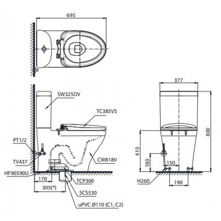 Bản vẽ bồn cầu 2 khối TOTO CS767T2