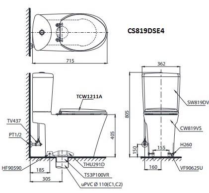 bản vẽ bồn cầu TOTO CS819DSE4 nắp rửa cơ