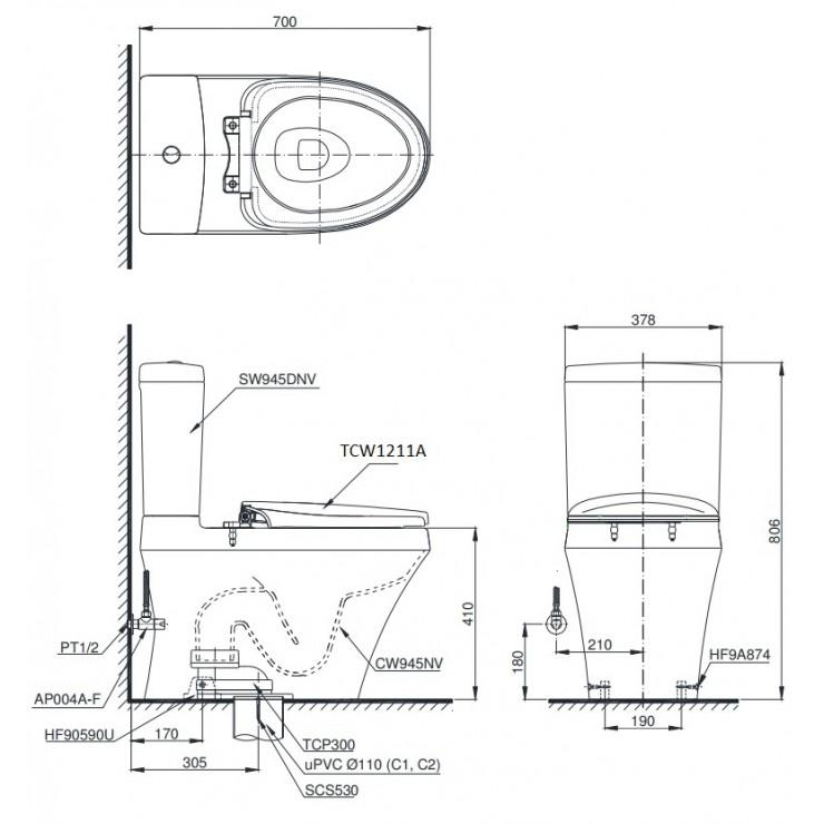 bản vẽ bồn cầu TOTO CS945DNE4 nắp rửa cơ