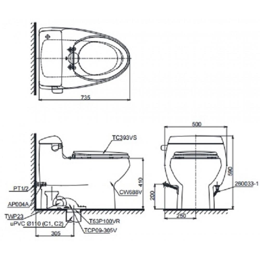 Bản vẽ bồn cầu TOTO MS688T3 - Xí bệt bàn cầu vệ sinh 1 khối