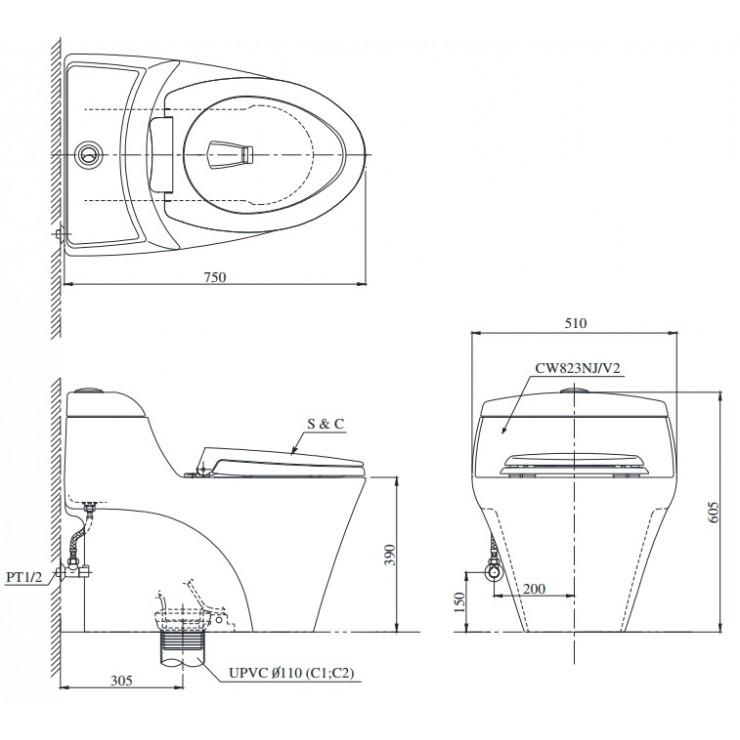 Bản vẽ bồn cầu TOTO CW823NW/F - Xí bệt bàn cầu vệ sinh 1 khối