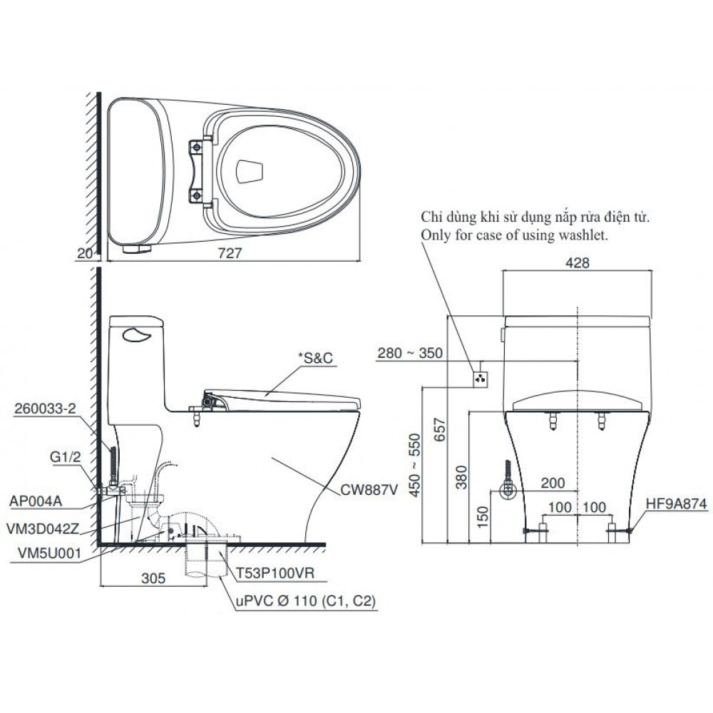Bản vẽ bồn cầu TOTO MS887E2 1 khối