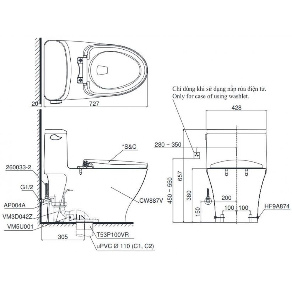 Bản vẽ bồn cầu TOTO MS887T2 1 khối