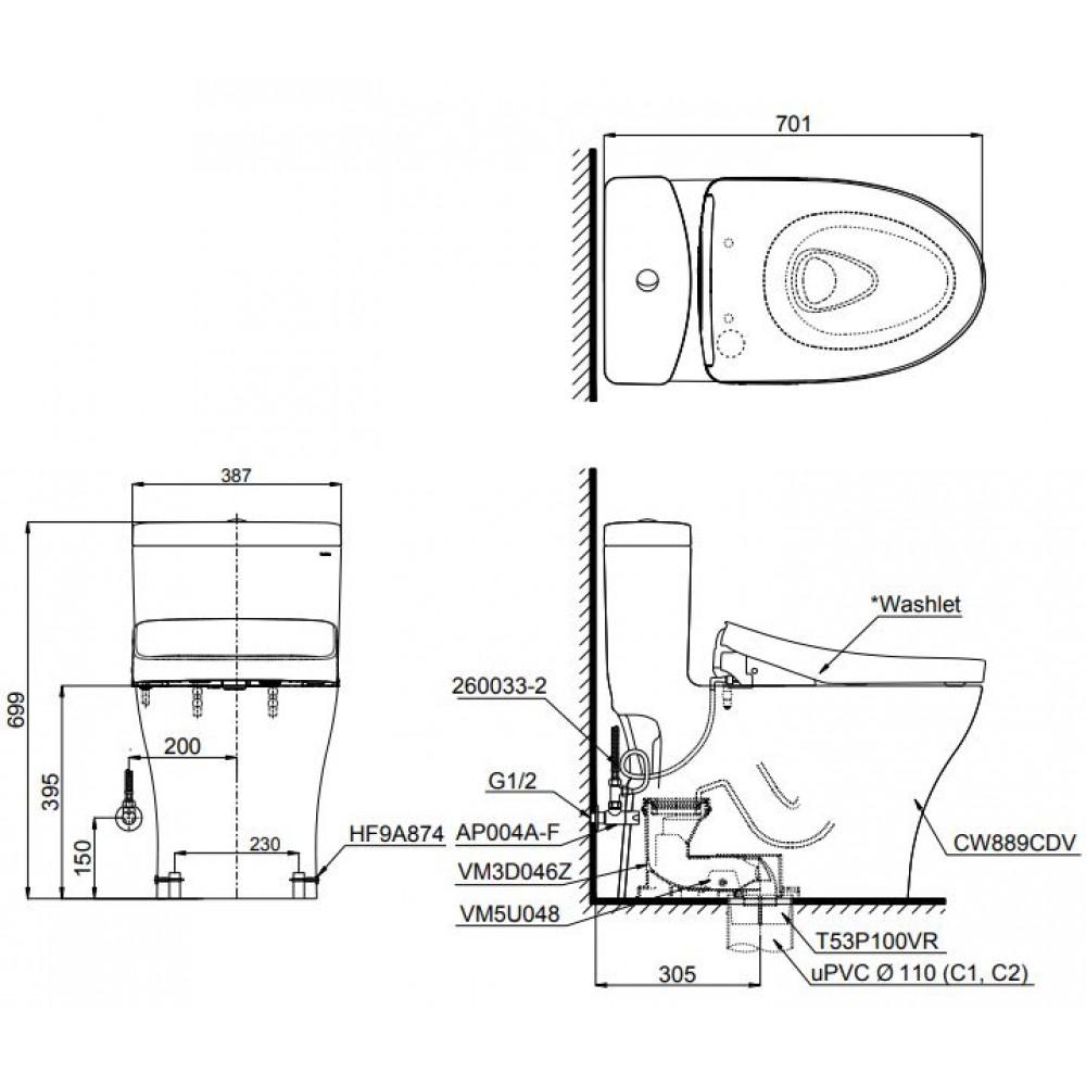 Bản vẽ bồn cầu nắp điện tử TOTO MS889CDW12