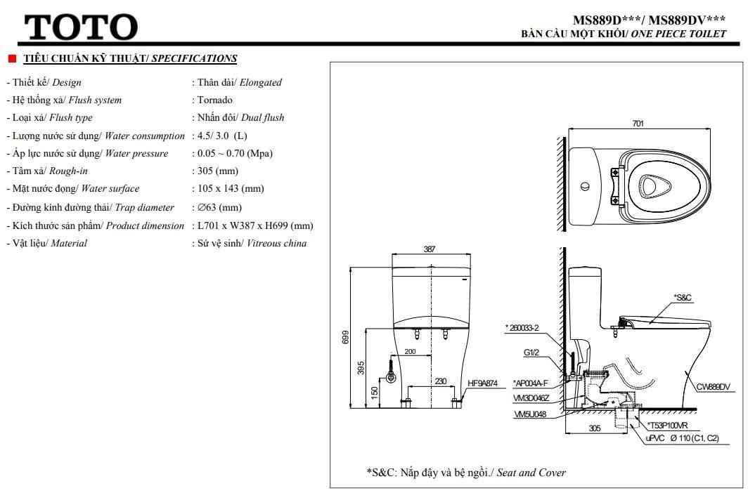bản vẽ bồn cầu TOTO MS889DE4 nắp rửa cơ