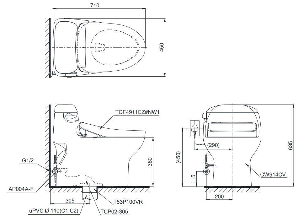 Bồn cầu TOTO MS914T2 - Xí bệt bàn cầu vệ sinh 1 khối