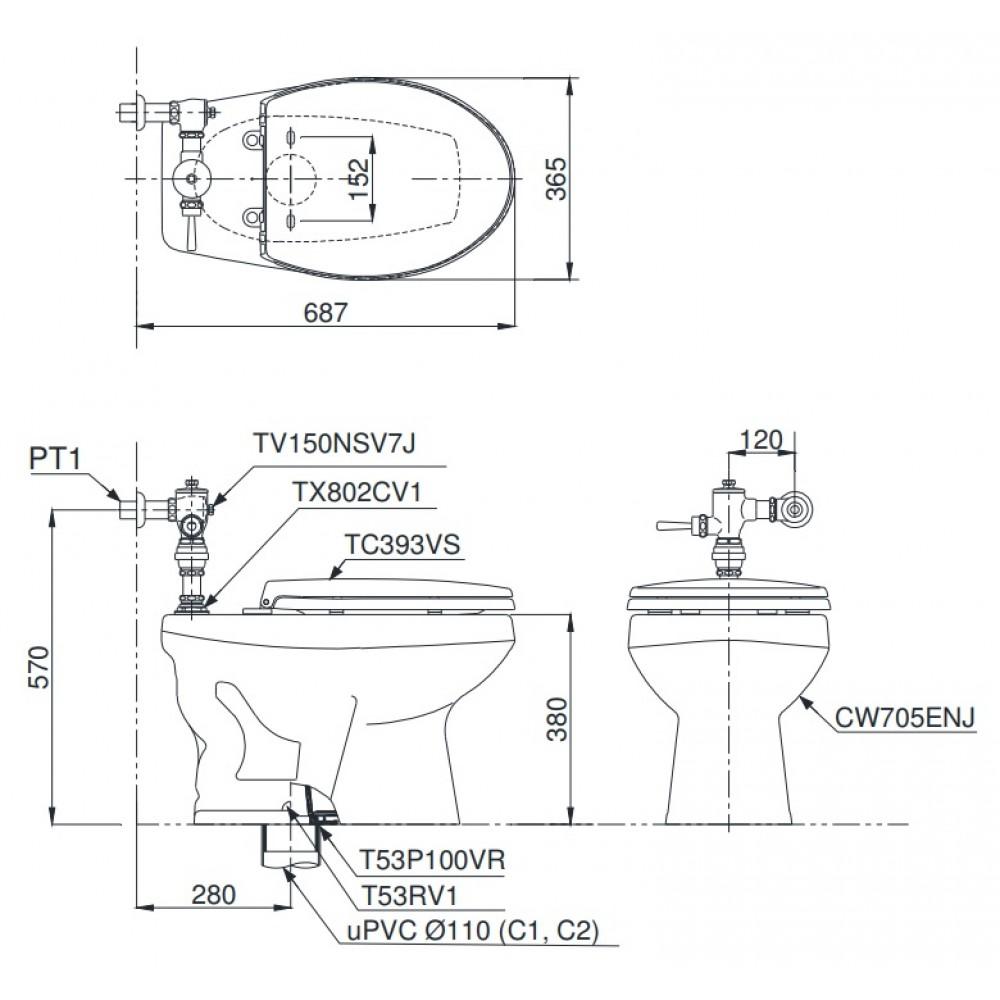 Bản vẽ kỹ thuật xí bệt CW705ENJ/TV150NSV7J